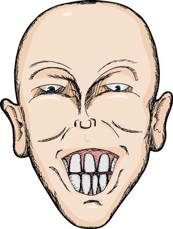 Caricature of bald Caucasian man with big teeth Vector