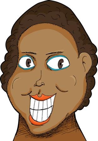 흰색 위에 큰 미소를 가진 흑인 여성의 풍자 만화