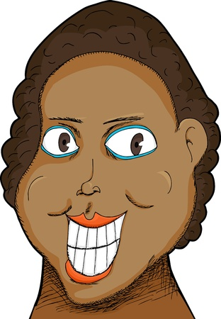 Caricature of a Black woman with big grin over white