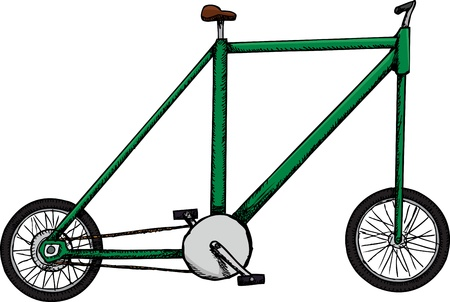 Caricature of a bicycle with very small wheels, set and handlebars