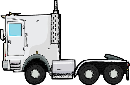 Generic tractor trailer rig illustration isolated over white