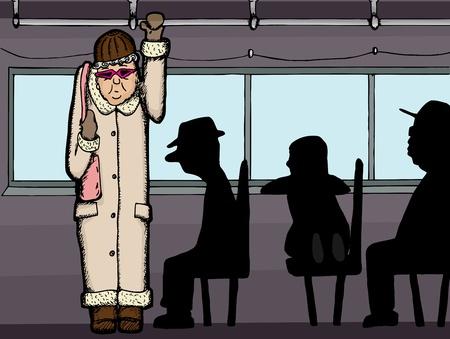 高齢者は立っている人のシルエットのバスに乗って  イラスト・ベクター素材