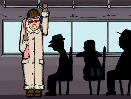 Senior citizen stands aboard a bus with silhouettes of people