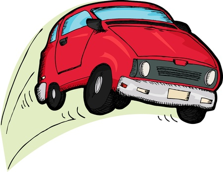 car isolated: Little red car cartoon bouncing over white background Illustration