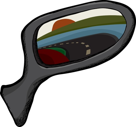 Side view mirror with reflection of back of vehicle and road