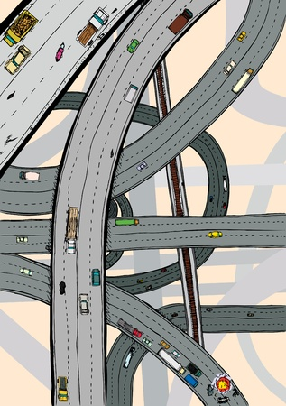 flyover: Highways and junctions with cars, trucks and railroad tracks