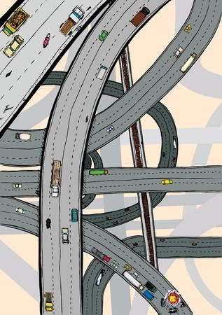 flyover: Wegen en kruispunten met auto's, vrachtwagens en spoor