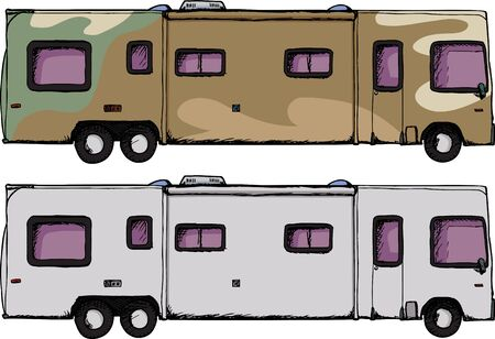 Long generic recreational vehicle isolated over white Vector