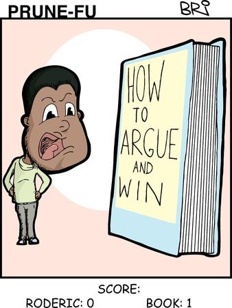 debate win: Black man argues with a book Prune-Fu comic strip 1 Illustration