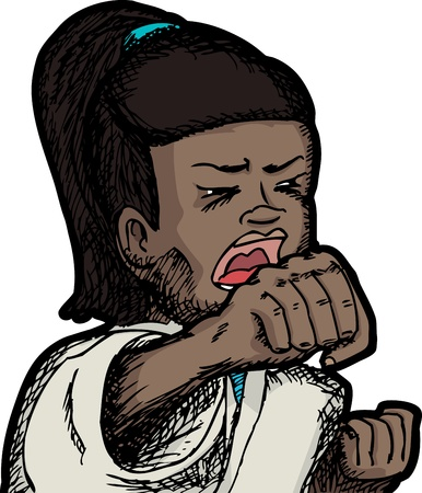 woman open mouth: Young Hispanic girl in Karate uniform yells and punches Illustration