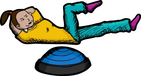 Young Hispanic woman works out abdominal muscles. Includes bosu device. Vector