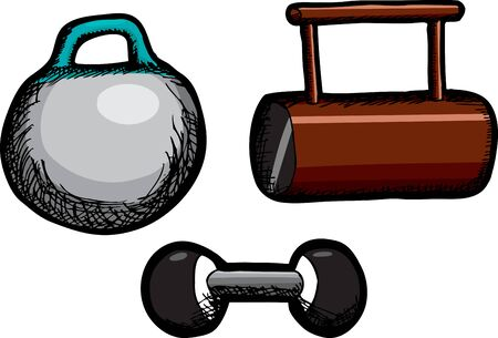 Kettlebell, short log and dumbbell weights isolated over white Illustration
