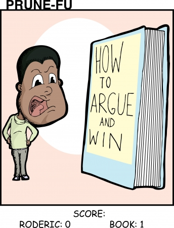 Black man argues with a book Prune-Fu comic strip 1 Иллюстрация