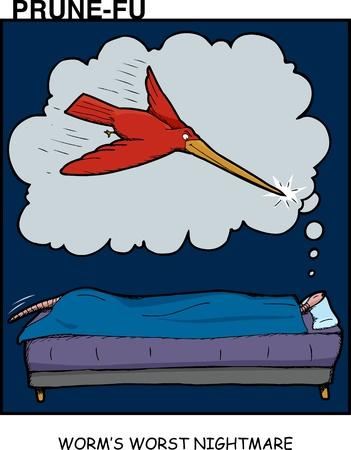 swoop: Dormir gusano tiene una pesadilla sobre la ave con pico largo en Prune-Fu tira c�mica 2