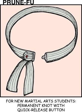 Martial arts uniform belt with detach button in Prune-Fu comic strip 4 Ilustração