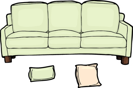 Long sofa illustration with separate pillows over white 向量圖像