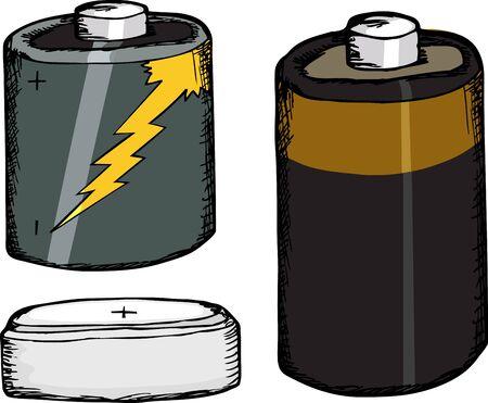 白い背景の上の 3 つの異なる小さな電池