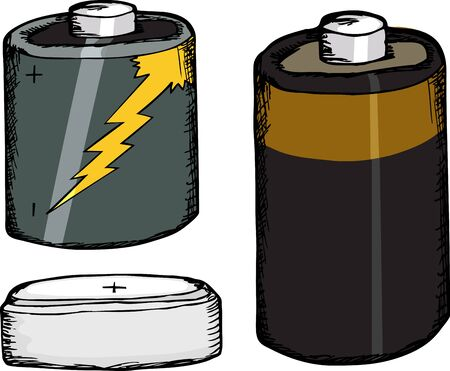 Three different small batteries over white background Stock Vector - 12187257