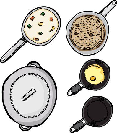reis gekocht: Top-Blick auf T�pfe und Pfannen mit Lebensmitteln isoliert �ber wei�
