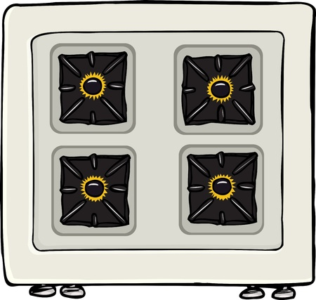 gas stove: Top-view of stovetop with lit burners isolated over white