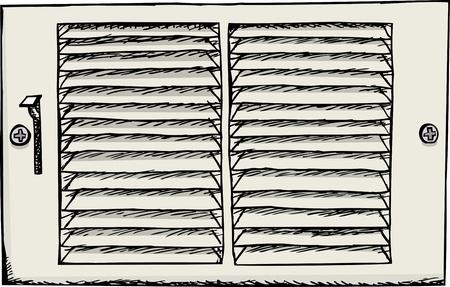 Air duct register cover for vent illustration over white