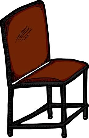 Geïsoleerde stoel met rode zitting op witte achtergrond