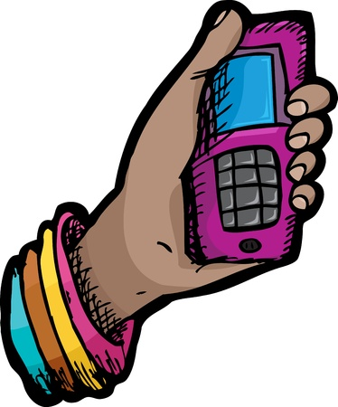 phone button: Mobile telephone held in a female hand over white