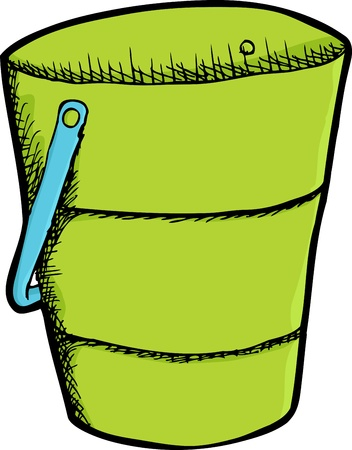 compost: Cute green bucket with blue handle isolated over white