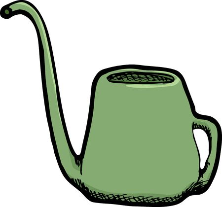 houseplant: Green houseplant watering can isolated over white