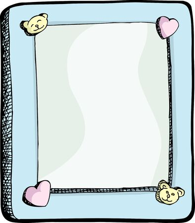 simple: Cute picture frame with hearts and bears on border Illustration
