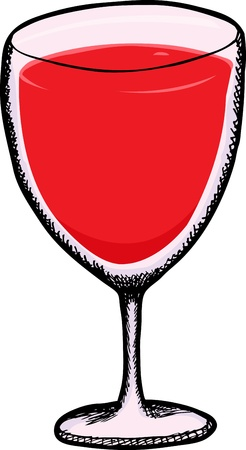 Goblet with cranberry juice isolated over white Illustration