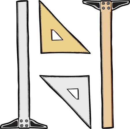 Generic clear and wooden drafting triangle and t-square