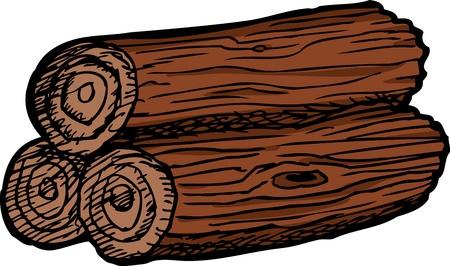 fire ring: Pila de madera de tres registros aislados sobre blanco