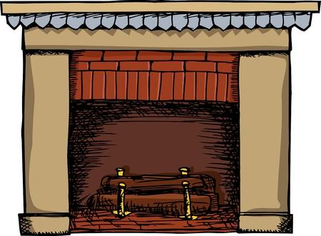 白い背景の上孤立ログと火がつなかった暖炉  イラスト・ベクター素材