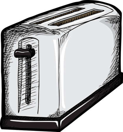 Isolated drawing of a 2-slice toaster over white background Çizim