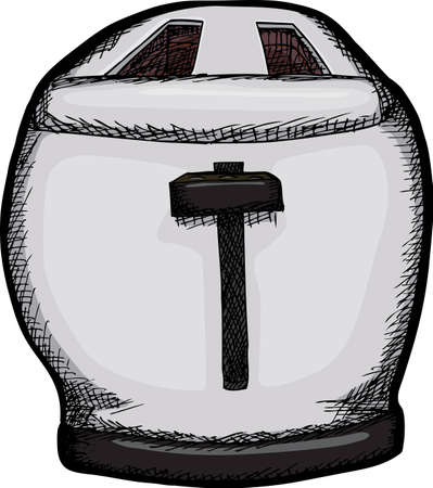 Isolated drawing of fat 2-slice toaster over white background Çizim