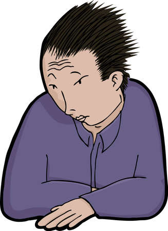 Young Asian man with spiky hair isolated over white Vector