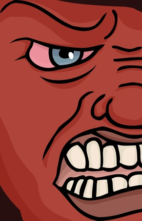 Close up illustration of a red enraged face