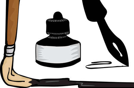 Paintbrush, ink pen and bottle isolated over white Vector