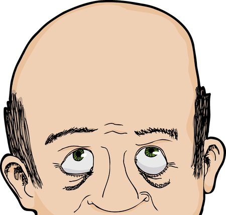single eyed: Cropped face of bald Caucasian man looking up