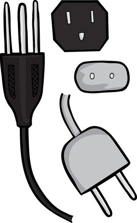 voltage gray: American and European standard electric plugs in profile and front view