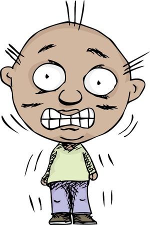 白い背景の上のカチャカチャ歯と神経質男の揺れ  イラスト・ベクター素材