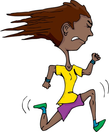 with stamina: Athletic Hispanic woman isolated over white running fast