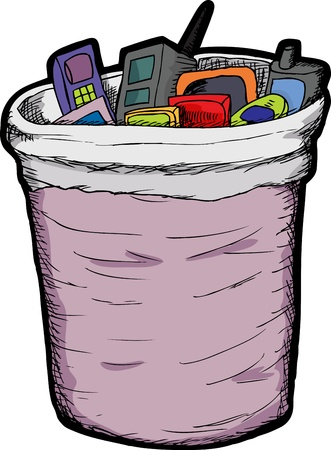 rubbish bin: Obsolete mobile phones and handheld games in trash can Illustration