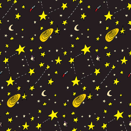Seamless background of ships, stars, galaxies and moons Stock Vector - 12494870