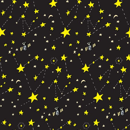 Seamless background of stars, moons and satellites over black Vector