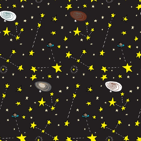galaxies: Seamless background of stars, planets and galaxies over black