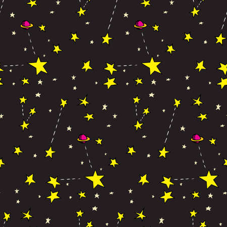 Seamless background of stars and ringed planets over black Stock Vector - 12494883