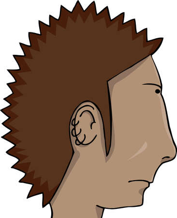 spiked hair: Latino man with spiked hair and ear rings