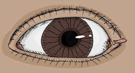 skin infections: Cierre de vista del ojo humano con la etiqueta de la piel en la esquina